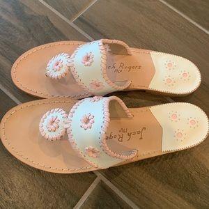Jack Rogers Flat Sandal (White/light pink)